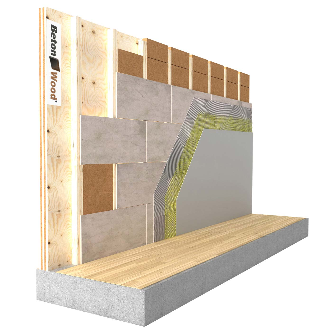 Internal insulation system in Fiber Wood and cement bonded particle board