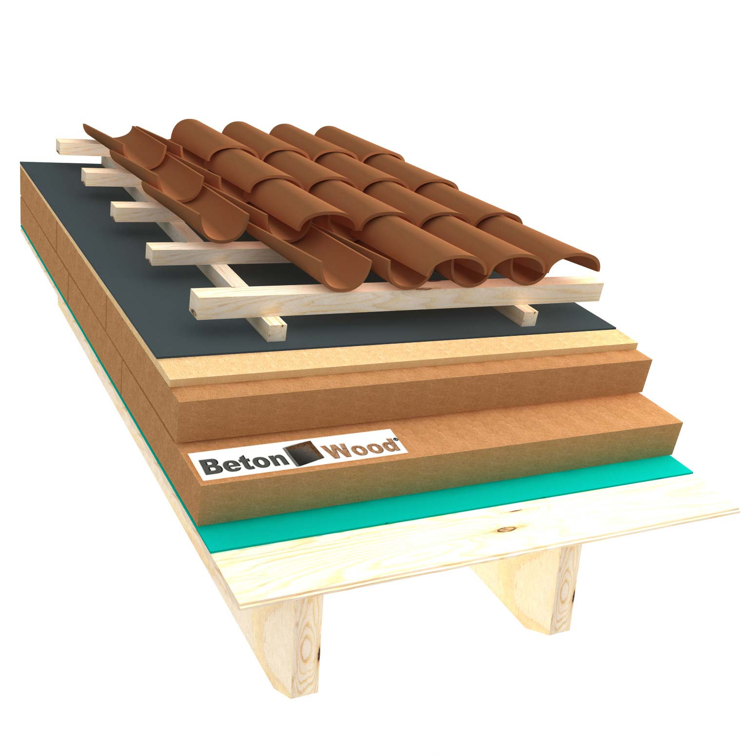 Ventilated roof with fiber wood Isorel and Special on matchboarding