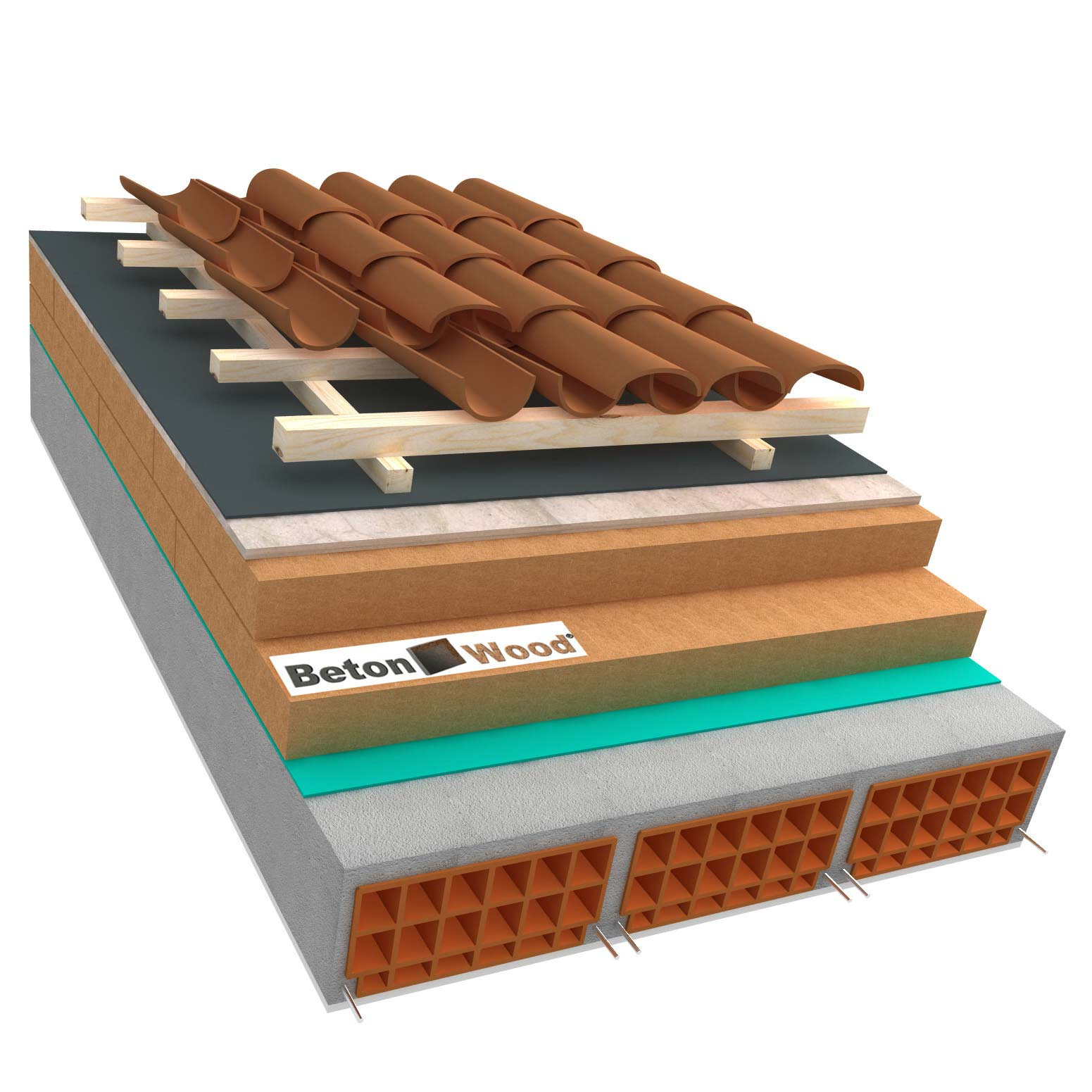 Ventilated roof with fiber wood Special and cement bonded particle boards on concrete