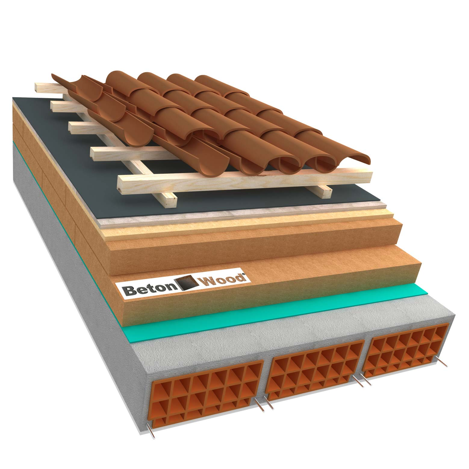 Ventilated roof with fiber wood Isorel, Special and cement bonded particle boards on concrete