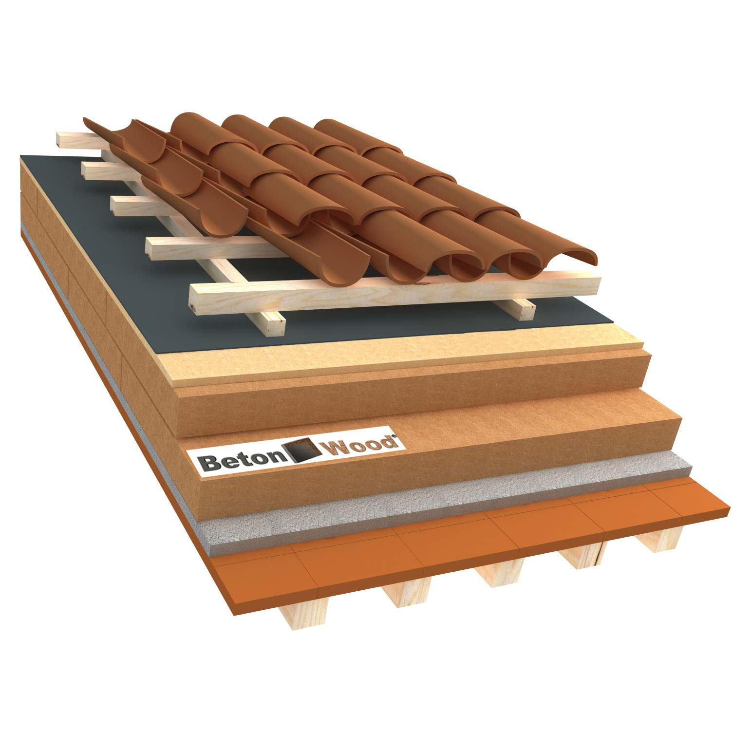 Ventilated roof with fiber wood Isorel and Special on terracotta tiles