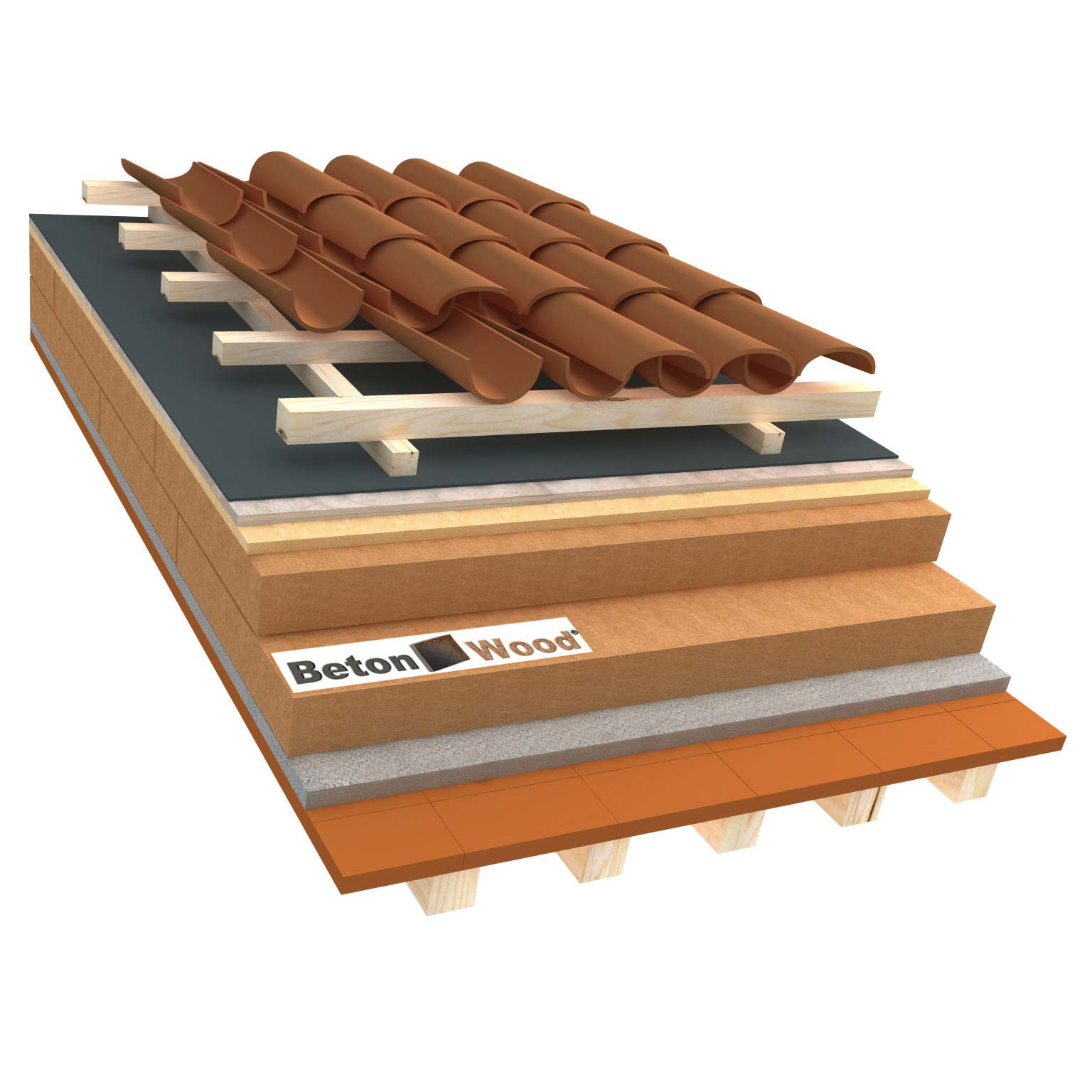 Ventilated roof with fiber wood Isorel, Special and cement bonded particle boards on terracotta tiles