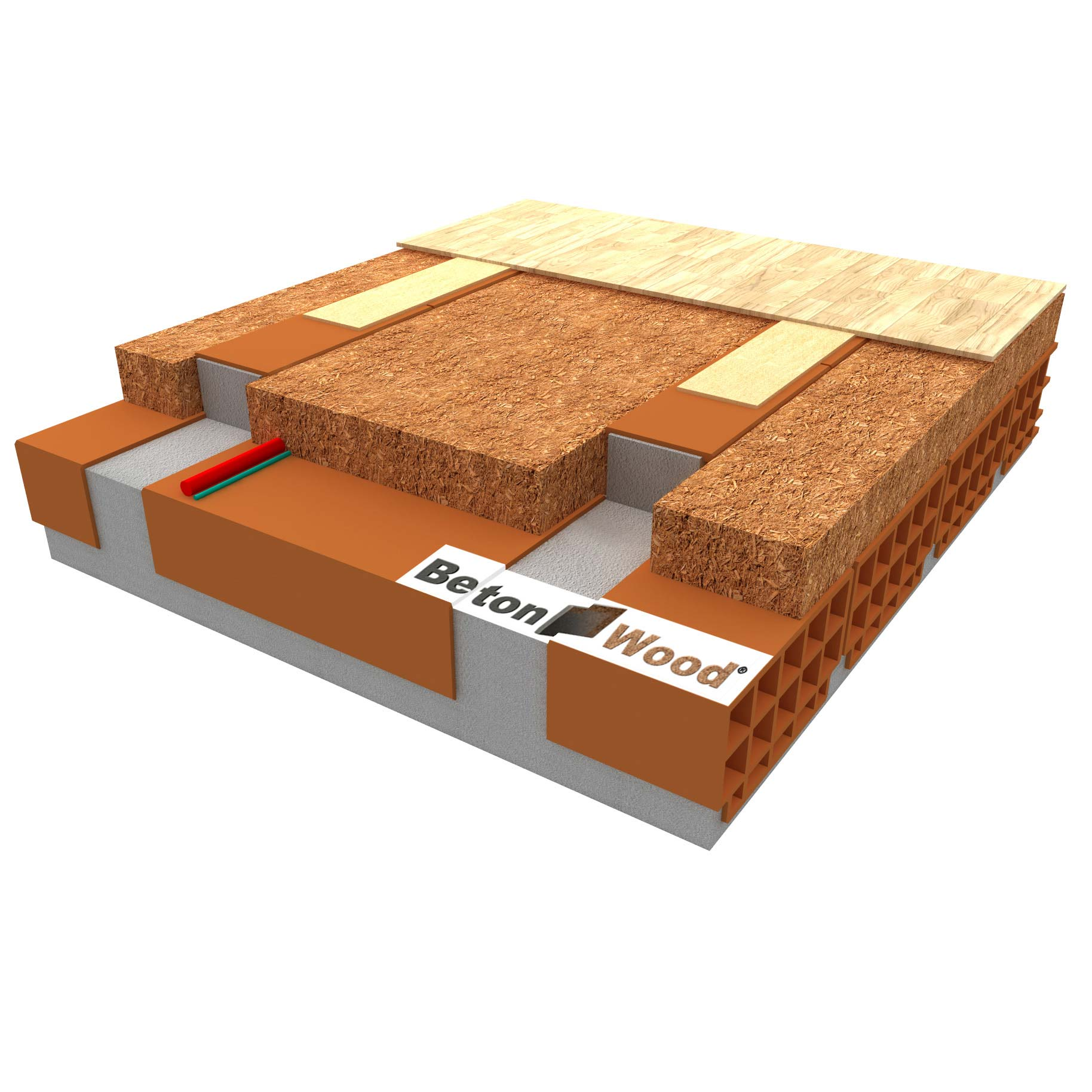 Dry screed with flexible fiber wood insulation