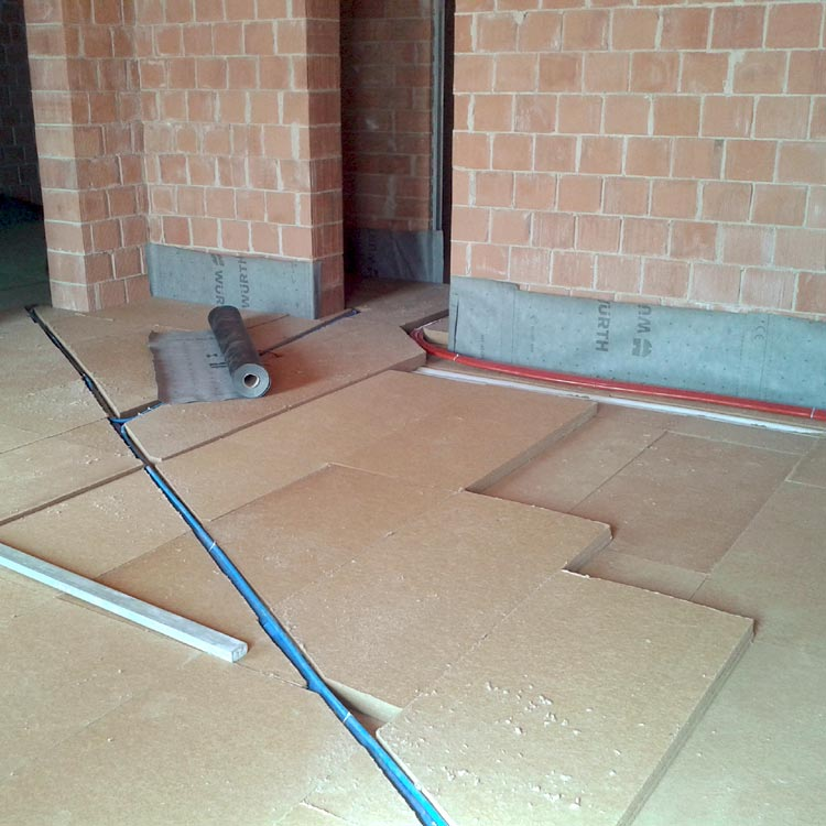 Fiber Wood Insulation FiberTherm SD installed as dry screed